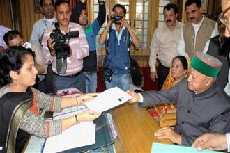Himachal Pradesh chief minister Virbhadra Singh filing his nomination from Arki assembly constituency in Solan district for assembly election last Friday. Photo: PTI