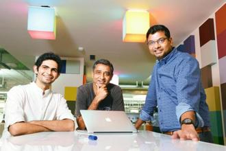 (From left to right) Rapid technology project's Yash Kotak and Rohit Chauhan with chief product officer Ambarish Kenghe at Myntra's office in Bengaluru.  Photo: Hemant Mishra/Mint