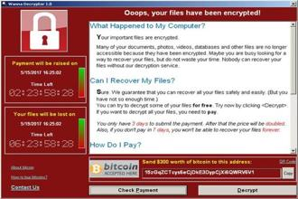 A screenshot shows a WannaCry ransomware demand, provided by cybersecurity firm Symantec, in Mountain View, California. Photo: Reuters