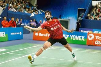 Kidambi Srikanth plays a shot against Japan's Kenta Nishimoto during the final of the French Open badminton tournament in Paris on Sunday. Photo: Thibault Camus/AP