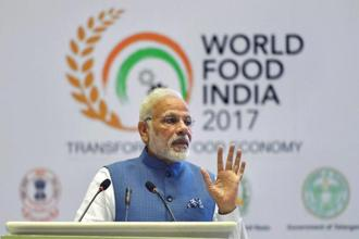 Prime Minister Narendra Modi addressing the World Food India 2017 in New Delhi on Friday. Photo: PTI
