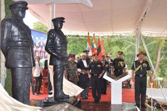 Indian Army chief Bipin Rawat unveiling statues of Filed Marshal K.M. Cariappa and General K.S.Thimmayya, in Kodagu, on Saturday.