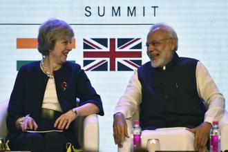 A file photo of Prime Minister Narendra Modi with his UK counterpart Theresa May at India-UK Tech Summit last year. Photo: AP