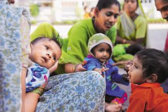 The report that studied over 140 countries, including India, found 'significant burden' of three important forms of malnutrition used as an indicator of broader trends--childhood stunting, anemia in women of reproductive age, and obesity in adult men and women. File photo: Mint