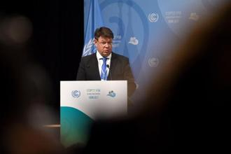 Finn Petteri Taalas, secretary-general of the World Meteorological Organization, at the opening session of the COP23 United Nations climate change conference on Monday in Bonn, Germany, on Sunday. Photo: AFP