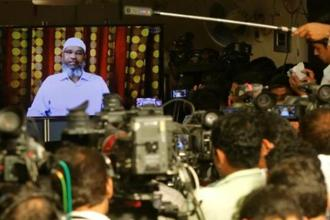 Zakir Naik, an Indian Islamic preacher and founder of Islamic Research Foundation, speaks to the media via a video conference in Mumbai in 2016. Photo: Reuters