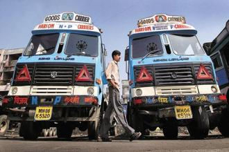 Sales of Ashok Leyland's medium, commercial vehicles in domestic market was up by 22%. Photo: Bloomberg