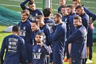 Italian players train ahead of Friday's World Cup playoff match against Sweden, at the Coverciano training centre, on Tuesday. Photo: AP