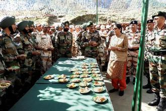 During her trip to Arunachal Pradesh, Nirmala Sitharaman visited forward army posts in the remote Anjaw district bordering China. Photo: PTI