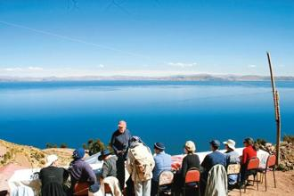 Dining on Taquile Island in the middle of Lake Titicaca, Peru. Photo: Samar Halarnkar