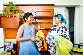 Stylist Nitasha Gaurav (left), who says offering stipend to interns is the ethical thing to do, with her former intern, Aditi Sapre. Photo: Aniruddha Chowdhury/Mint
