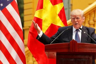 US President Donald Trump at a news conference at the Presidential Palace in Hanoi, Vietnam on Sunday. Photo: Reuters