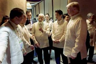 Prime Minister Narendra Modi with US President Donald Trump, Japanese prime minister Shinzo Abe and other world leaders at an Asean summit dinner in Manila on Sunday. Photo: PTI