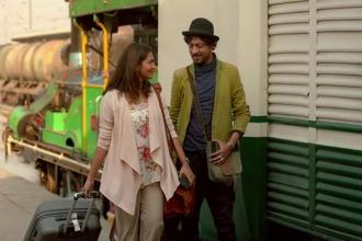 Irrfan Khan and Parvathy in a still from 'Qarib Qarib Singlle'.
