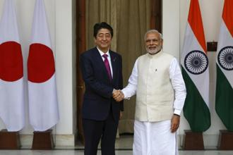The Modi-Abe meeting came two days after officials of India, the US, Japan and Australia held their first meeting to give shape to the much talked about quadrilateral alliance. Photo: Reuters