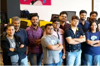 Active.ai co-founder Ravi Shankar (extreme left) and the team at Active.ai. The fintech start-up is headquartered in Singapore and has an R&D lab in Bengaluru. Photo: Active.ai website