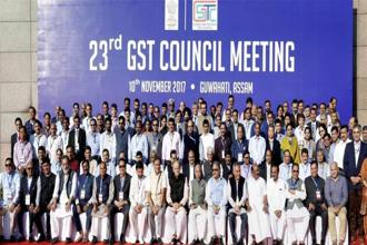 Union finance minister Arun Jaitley in a group photograph with other state finance ministers and other officials during the 23rd GST Council meeting in Guwahati on 10 November. Photo: PTI