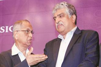 Infosys co-founder N.R. Narayana Murthy and chairman Nandan Nilekani in Bengaluru on Wednesdaywe. Photo: PTI