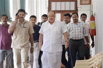Kerala former transport minister Thomas Chandy, who is facing encroachment charges, leaves his office at secretariat in Thiruvananthapuram on Wednesday. Photo: PTI