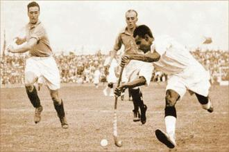 Dhyan Chand with the ball during India's semi-final match against France in the 1936 Olympics. In his biography, he writes, 'I realise that I am not a very important man, good enough to write an autobiography...' Photo: HT