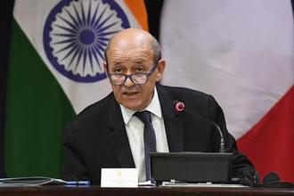 French foreign minister Jean-Yves Le Drian speaks on Friday at a function during his India visit. Photo: PTI