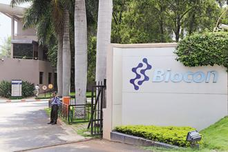 Shares of Biocon closed 7.27% up at Rs423 on the BSE, while benchmark Sensex index closed 0.05% higher at 33,359.90 points. Photo: Hemant Mishra/Mint
