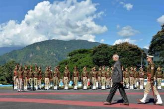 President Ram Nath Kovind inspecting the guard of honour on his arrival at Raj Bhavan helipad in Itanagar on Sunday. Photo: PTI