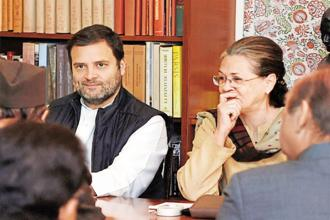 Congress president Sonia Gandhi and party vice-president Rahul Gandhi at the Congress Working Committee meeting in New Delhi on Monday. Photo: PTI