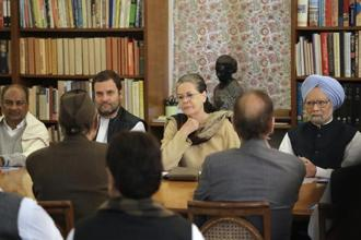 Congress president Sonia Gandhi presides over the Congress working committee (CWC) meeting with party vice-president Rahul Gandhi and former prime minister Manmohan Singh, in New Delhi on Monday. Photo: AP