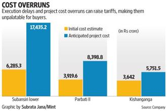Delays and cost overruns have become commonplace for hydropower projects, according to an expert. Graphic: Subrata Jana/Mint