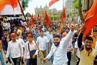 A file photo of a protest rally taken out by Maratha organizations in Mumbai. Fifty-one marches were triggered by the Kopardi incident as the victim belonged to the Maratha community. Photo: Mint