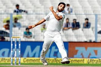 Bhuvaneshwar Kumar took eight wickets in the first Test against Sri Lanka. Photo: AP