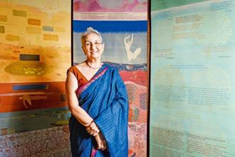 Nilima Sheikh with her works at the Chemould Prescott Road gallery in Mumbai. Photo: Aniruddha Chowdhury/Mint