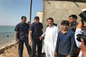 Congress VP Rahul Gandhi was in Porbandar on Friday to campaign for the Gujarat elections. Photo: PTI