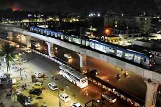 A metro train during its trial run from Nagole to Metuguda in Secundrabad on Friday night. Photo: PTI