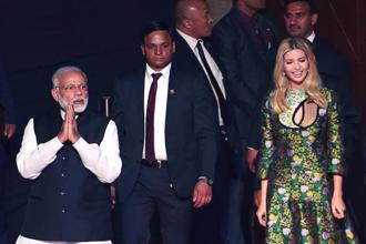 The eighth edition of the three-day Global Entrepreneurship Summit 2017 (GES 2017) was inaugurated by Prime Minister Narendra Modi and Ivanka Trump in Hyderabad today. Photo: AFP