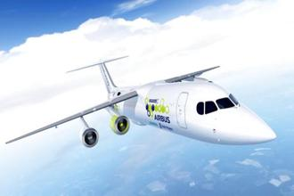 The artist rendering provided by Airbus on Tuesday shows an Airbus e-FanX hybrid test plane. Photo: Airbus via AP