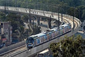 The Hyderabad Metro Rail would run from 6am to 10pm initially which would be rescheduled to 5.30am to 11pm depending on the traffic and demand. Photo: PTI