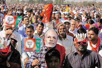 The BJP is keen that PM Narendra Modi becomes the talking point of the Gujarat election campaign to make the polls a contest between him and the Congress. Photo: AP