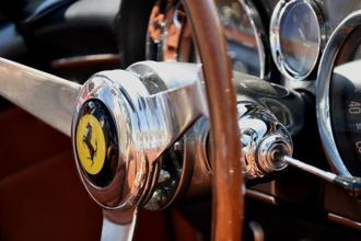 The interior controls of a 1961 Ferrari SpA 250 GT SWB California grand touring vehicle. Photo: Bloomberg