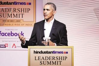 Former US president Barack Obama at the Hindustan Times Leadership Summit in New Delhi on Friday. Photo: Burhaan Kinu/HT