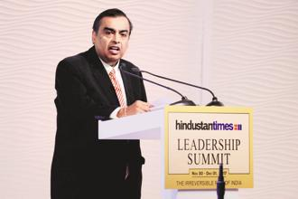 Mukesh Ambani, chairman and managing director of Reliance Industries, at the Hindustan Times Leadership Summit in New Delhi. Photo: Pradeep Gaur/Mint
