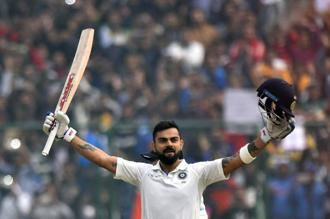 In the ongoing series against Sri Lanka, Virat Kohli on Sunday scored 243 runs, following a 213 in the previous Test. Photo: PTI
