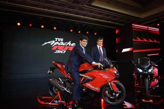 TVS Motor's Joint MD Sudarshan Venu with CEO K.N. Radhakrishnan at the launch of the TVS Apache RR 310 in Chennai on Wednesday. Photo: PTI