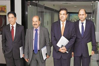 (From left) RBI deputy governors B.P. Kanungo, N.S. Vishwanathan, governor Urjit Patel, and deputy governor Viral Acharya, at RBI headquarters in Mumbai on Wednesday. Photo: PTI