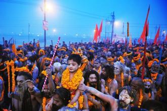 The Kumbh Mela, held in Allahabad, Haridwar, Ujjain and Nasik, represents a syncretic set of rituals related to worship and cleansing in holy rivers. Photo: AFP
