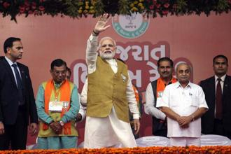 Narendra Modi will address four election rallies today as part of his ongoing campaign for Gujarat elections. Photo: PTI