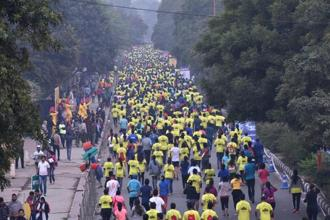 Runners at this year's Airtel Delhi Half Marathon. Photo: Hindustan Times