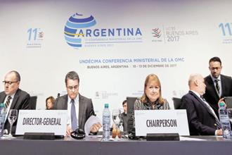 Susana Malcorra, chair of the 11th World Trade Organization's ministerial conference, and WTO Director-General Roberto Azevedo at the plenary sessions in Buenos Aires. Photo: Reuters