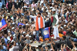 Patidar community leader Hardik Patel during a road show for the second phase of Gujarat assembly elections, in Ahmedabad on Monday. Photo: PTI